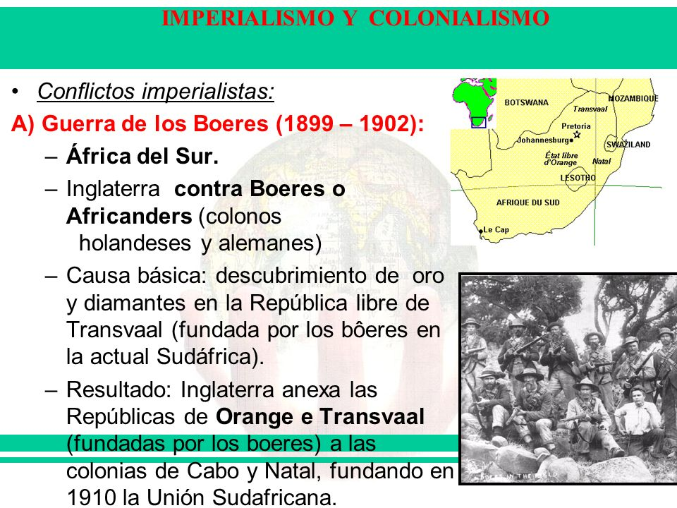 Conflictos imperialistas: A) Guerra de los Boeres (1899 – 1902): –África del Sur. –Inglaterra contra Boeres o Africanders (colonos holandeses y aleman