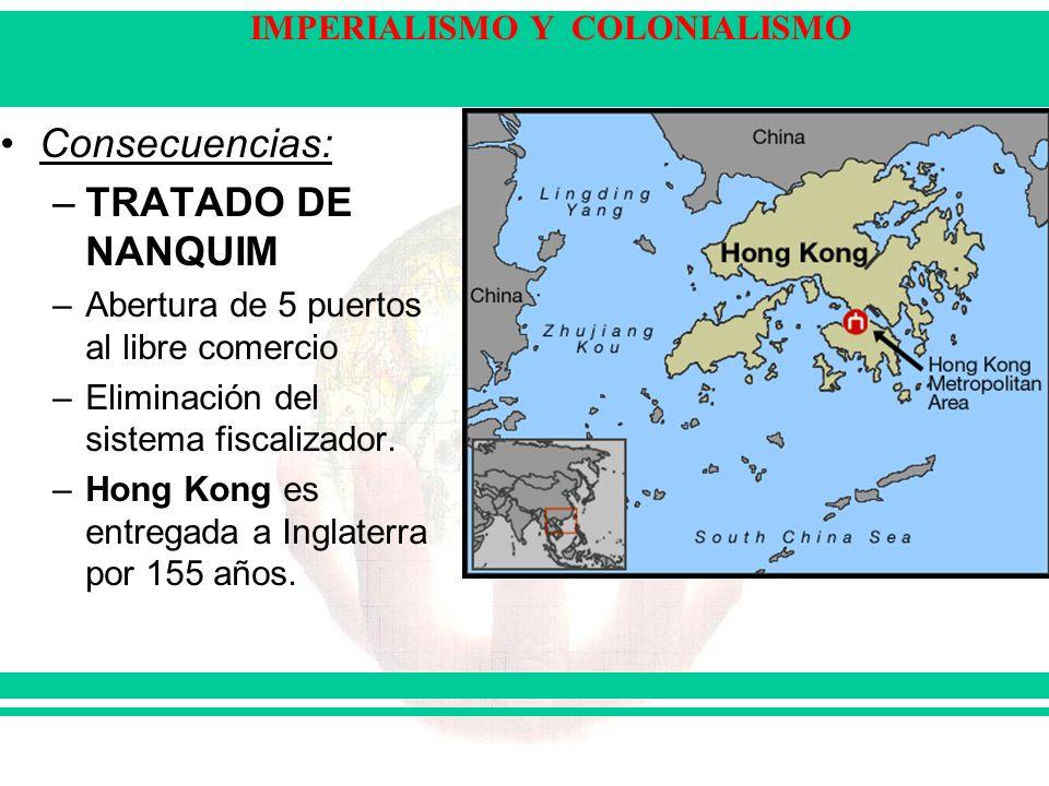 IMPERIALISMO Y COLONIALISMO Consecuencias: –TRATADO DE NANQUIM –Abertura de 5 puertos al libre comercio –Eliminación del sistema fiscalizador. –Hong K