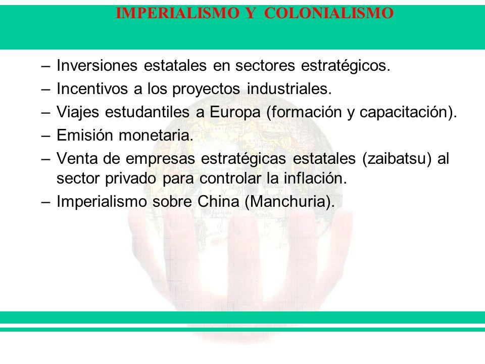 IMPERIALISMO Y COLONIALISMO –Inversiones estatales en sectores estratégicos. –Incentivos a los proyectos industriales. –Viajes estudantiles a Europa (