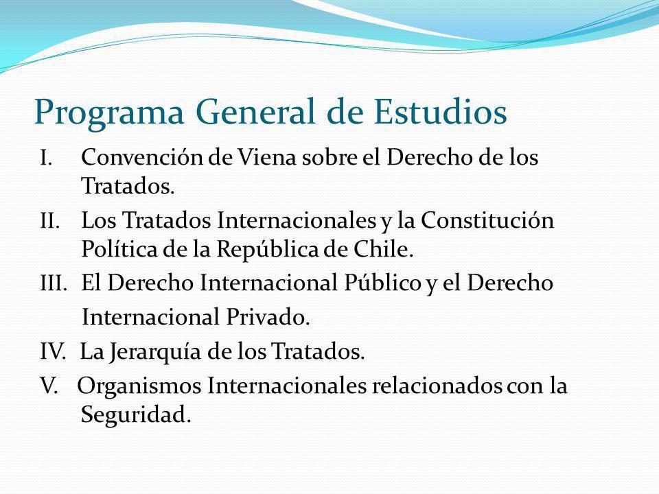 Programa General de Estudios I. Convención de Viena sobre el Derecho de los Tratados. II. Los Tratados Internacionales y la Constitución Política de l