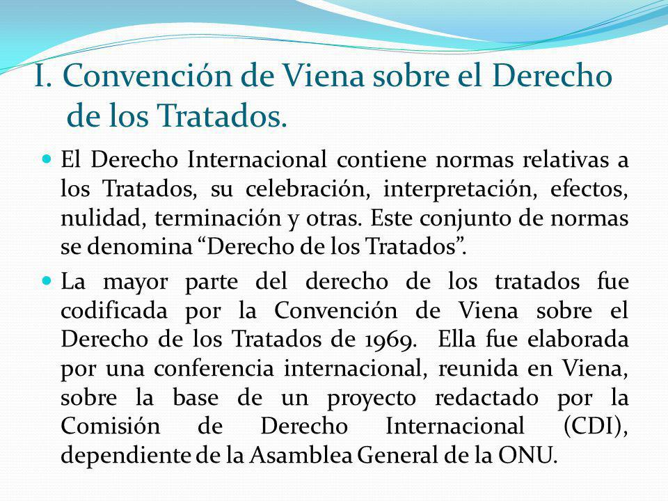I. Convención de Viena sobre el Derecho de los Tratados. El Derecho Internacional contiene normas relativas a los Tratados, su celebración, interpreta