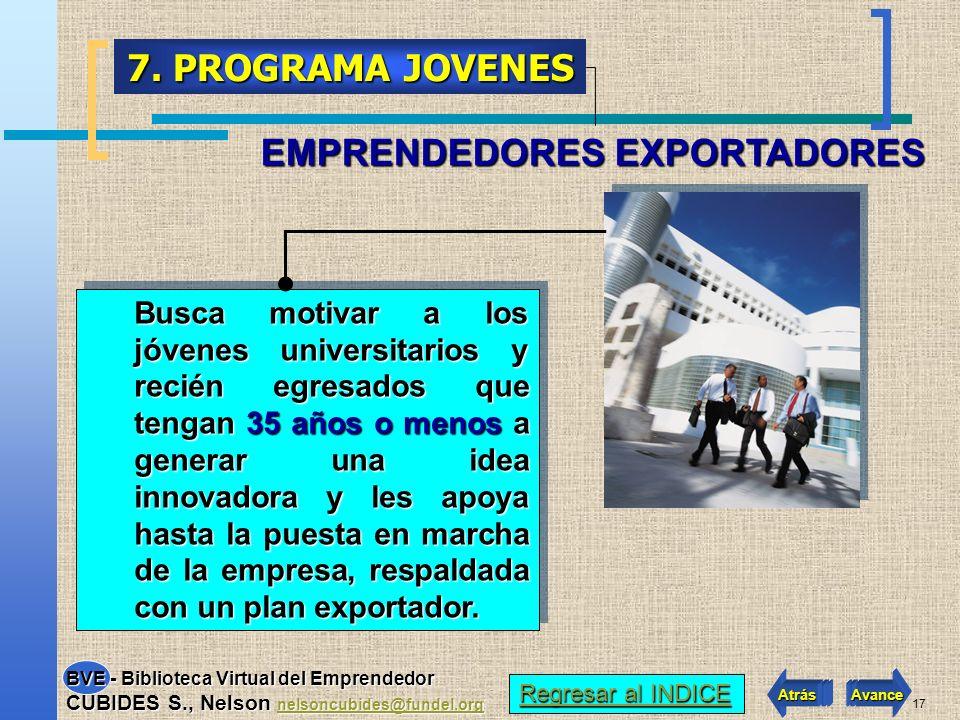 16 PROEXPORT (Programa Expopyme) 6. SERVICIOS DE Entidad que promueve las exportaciones y apoya con asesoría integral a los empresarios. SUS SERVICIOS