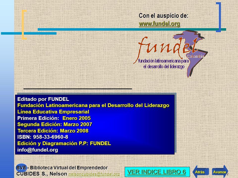 B IBLIOTECA V IRTUAL DEL E MPRENDEDOR. Autor: CUBIDES S., NELSON Con el auspicio de: www.fundel.org www.fundel.orgwww.fundel.org BVE Avance VER INDICE