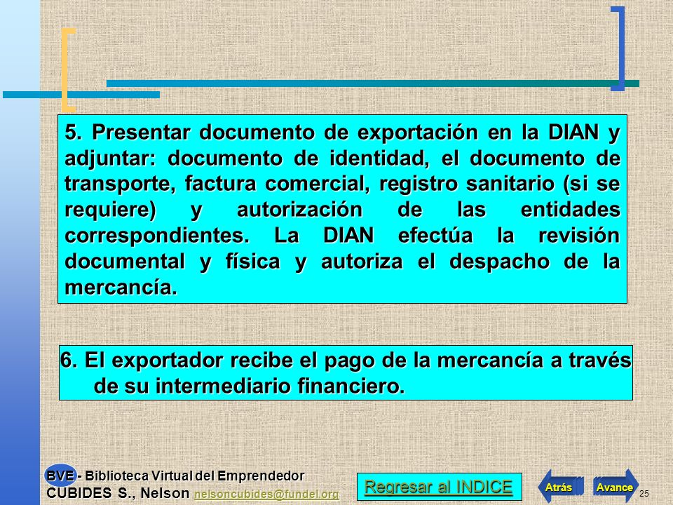 24 A UNA EXPORTACION PASOS QUE SIGUEN 1. Estudio de mercado y localización de la demanda 2. El exportador recibe confirmación de la apertura de una Ca