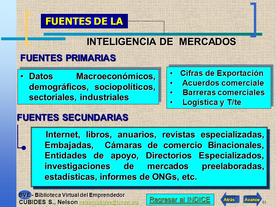 52 Sistema Inf. Mercados Selección de Mercados Criterios de Mercado Conclusiones Marketing Mix Análisis Entorno Empresarial Necesidades de Información