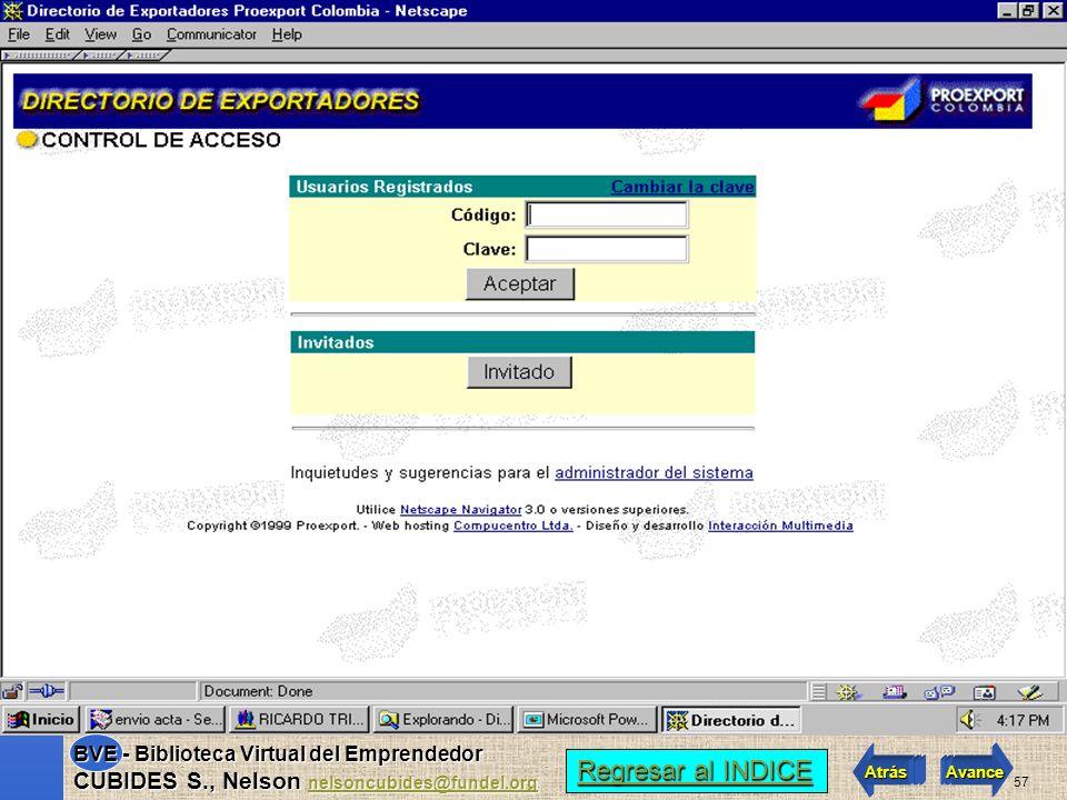 56 Regresar al INDICE Regresar al INDICE Atrás Avance BVE - Biblioteca Virtual del Emprendedor CUBIDES S., Nelson nelsoncubides@fundel.org nelsoncubid