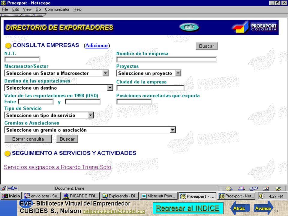 57 Regresar al INDICE Regresar al INDICE Atrás Avance BVE - Biblioteca Virtual del Emprendedor CUBIDES S., Nelson nelsoncubides@fundel.org nelsoncubid