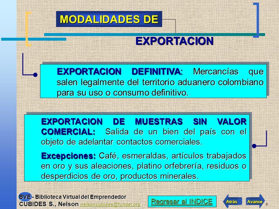 6 EXPORTACION DEFINITIVA: Mercancías que salen legalmente del territorio aduanero colombiano para su uso o consumo definitivo.