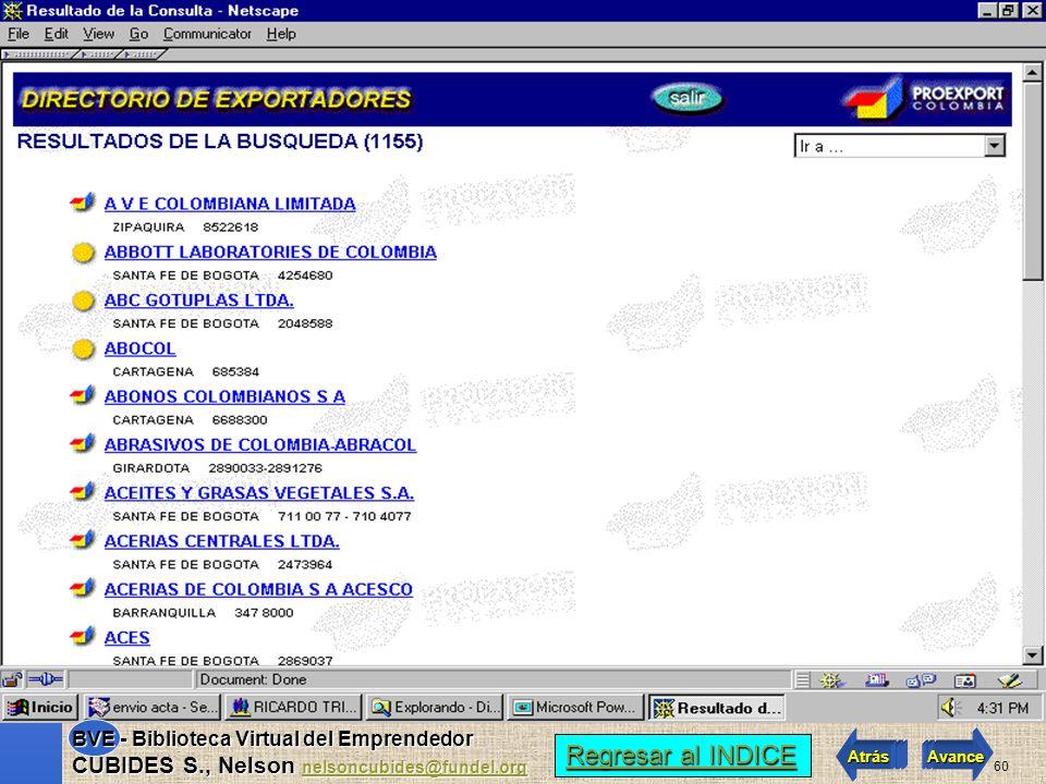 59 Regresar al INDICE Regresar al INDICE Atrás Avance BVE - Biblioteca Virtual del Emprendedor CUBIDES S., Nelson nelsoncubides@fundel.org nelsoncubid
