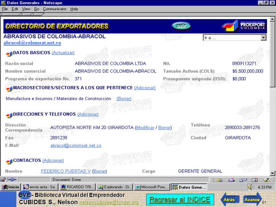 60 Regresar al INDICE Regresar al INDICE Atrás Avance BVE - Biblioteca Virtual del Emprendedor CUBIDES S., Nelson nelsoncubides@fundel.org nelsoncubid