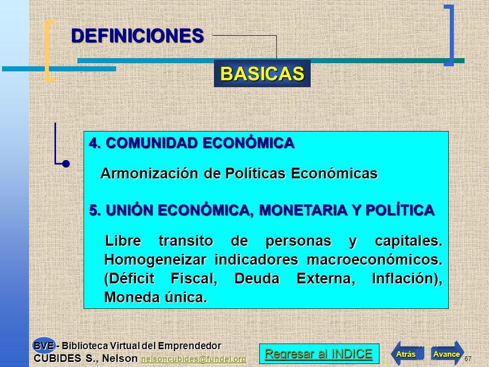66 1.AREA DE LIBRE COMERCIO Reducción paulatina a cero de las tarifas de todos los países.