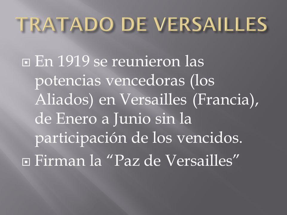 En 1919 se reunieron las potencias vencedoras (los Aliados) en Versailles (Francia), de Enero a Junio sin la participación de los vencidos. Firman la