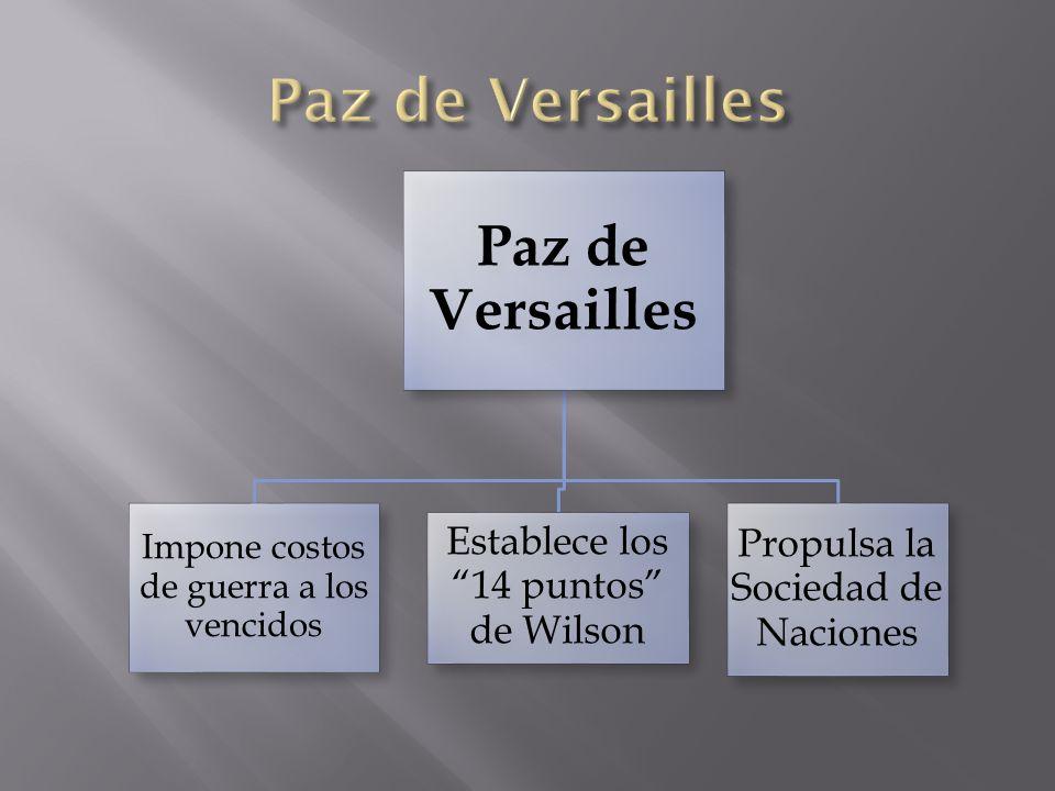 Paz de Versailles Impone costos de guerra a los vencidos Establece los 14 puntos de Wilson Propulsa la Sociedad de Naciones