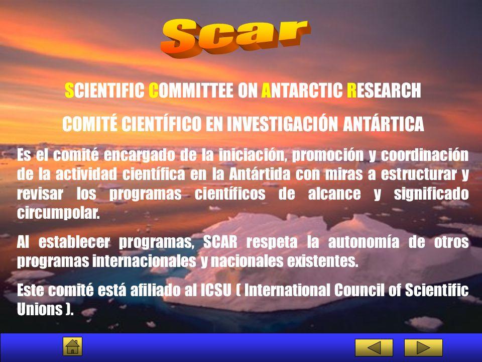 SCIENTIFIC COMMITTEE ON ANTARCTIC RESEARCH COMITÉ CIENTÍFICO EN INVESTIGACIÓN ANTÁRTICA Es el comité encargado de la iniciación, promoción y coordinac