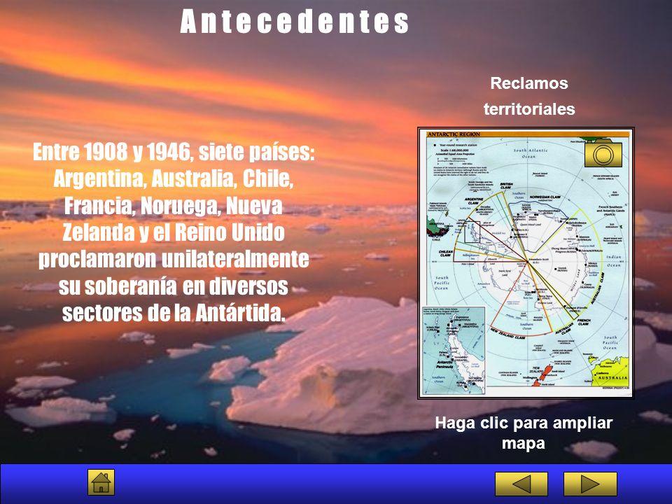 A n t e c e d e n t e s Entre 1957 y 1958, se realizó el denominado Año Geofísico Internacional , importante evento científico, durante el cual se llevaron adelante significativas expediciones científicas en la región antártica, con la participación de doce países.
