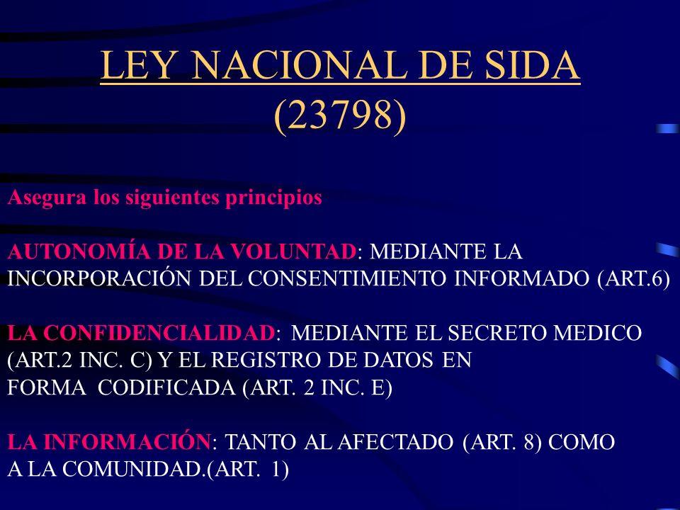 Legislación Nacional generada como respuesta a la aparición de la epidemia del VIH/SIDA en Argentina LEY NACIONAL DE SIDA 23798 LEYES OBRAS SOCIALES 2