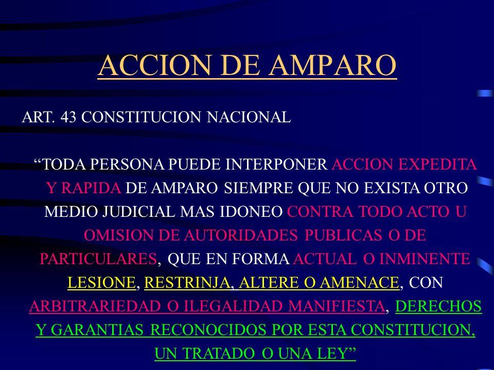 ACCION DE AMPARO El artículo 43 de nuestra Constitución Nacional establece el instrumento fundamental de protección de los derechos y garantías recono