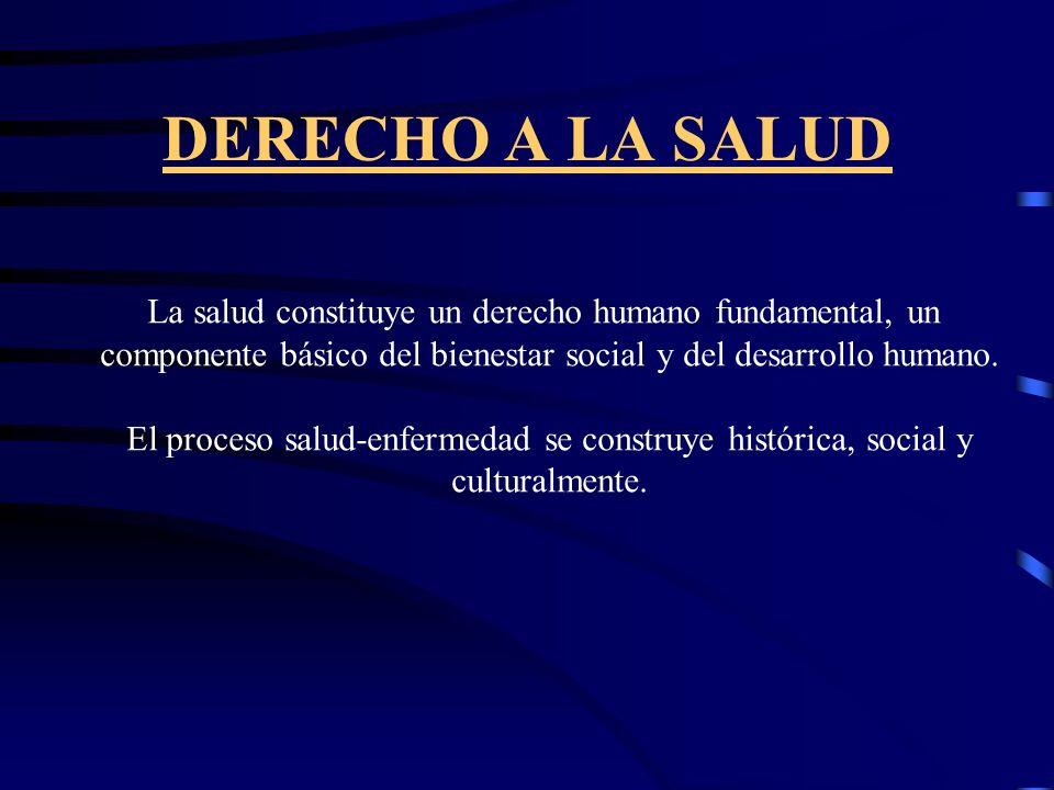 DERECHO A LA SALUD LA SALUD...Estado bienestar físico, mental, social, y no meramente la ausencia de enfermedad o invalidez... (OMS) EL REGUARDO A LA