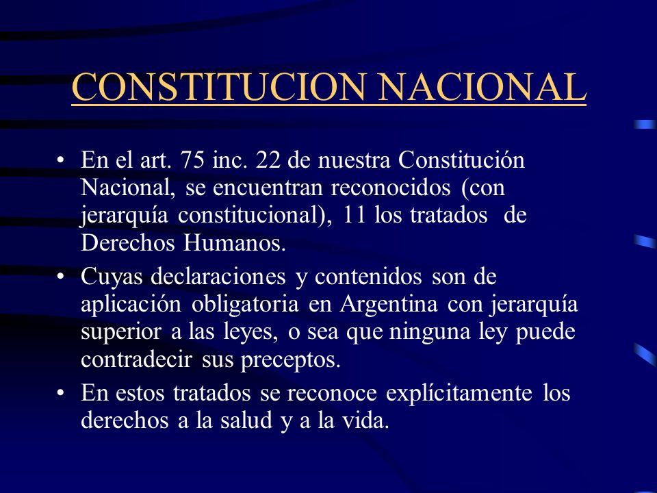 CONSTITUCION NACIONAL En la nueva Constitución Nacional de la República Argentina (reformada en el año 1994) se obvió reconocer expresamente el derech