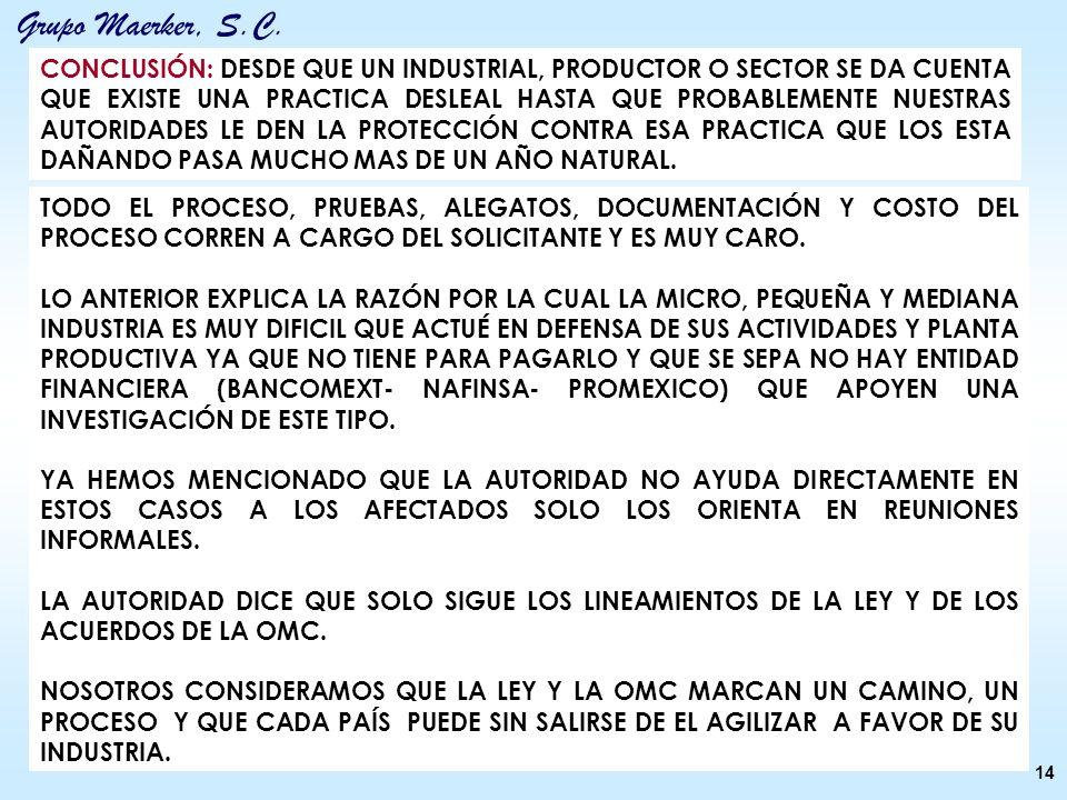 Grupo Maerker, S.C. 14 CONCLUSIÓN: DESDE QUE UN INDUSTRIAL, PRODUCTOR O SECTOR SE DA CUENTA QUE EXISTE UNA PRACTICA DESLEAL HASTA QUE PROBABLEMENTE NU