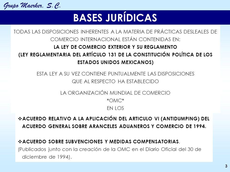 Grupo Maerker, S.C. ACUERDO RELATIVO A LA APLICACIÓN DEL ARTICULO VI (ANTIDUMPING) DEL ACUERDO GENERAL SOBRE ARANCELES ADUANEROS Y COMERCIO DE 1994. A