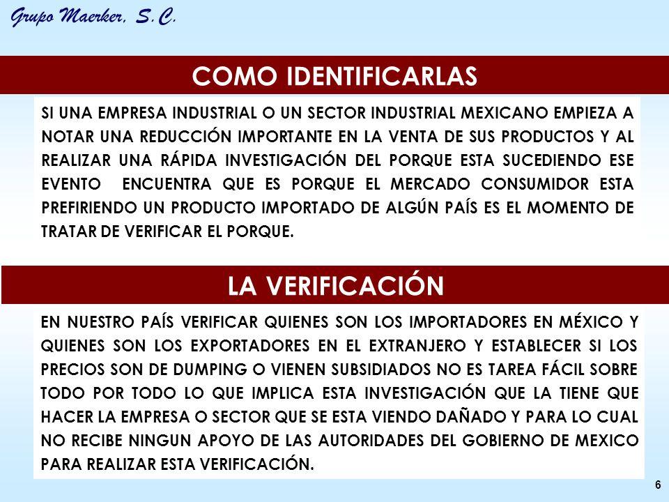 Grupo Maerker, S.C. COMO IDENTIFICARLAS LA VERIFICACIÓN SI UNA EMPRESA INDUSTRIAL O UN SECTOR INDUSTRIAL MEXICANO EMPIEZA A NOTAR UNA REDUCCIÓN IMPORT