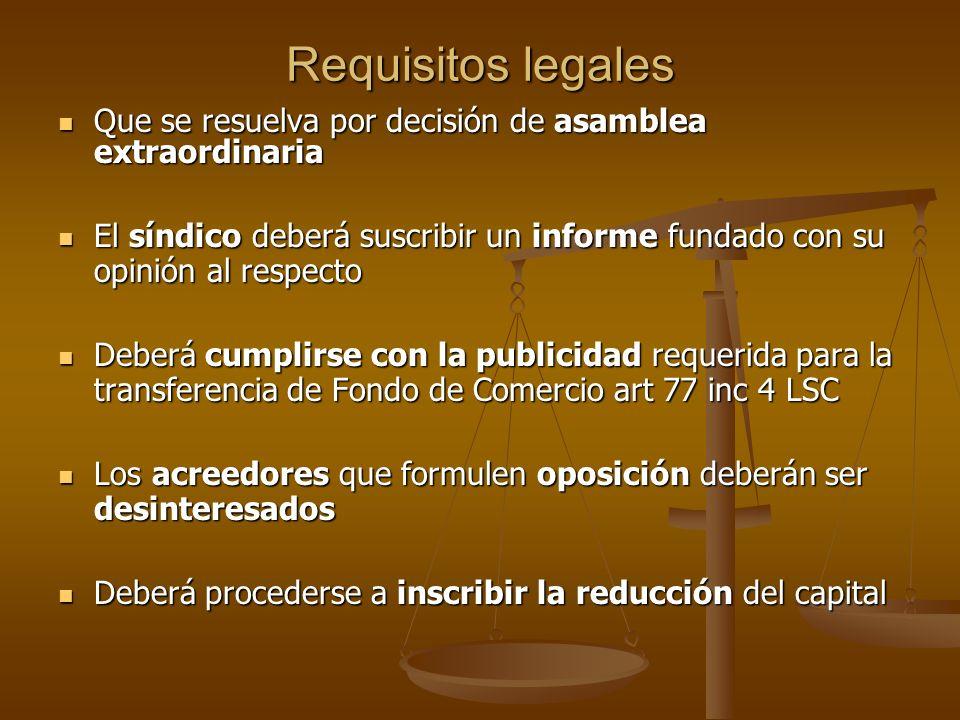 Requisitos legales Que se resuelva por decisión de asamblea extraordinaria Que se resuelva por decisión de asamblea extraordinaria El síndico deberá s
