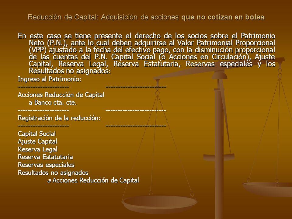 Reducción de Capital: Adquisición de acciones que no cotizan en bolsa En este caso se tiene presente el derecho de los socios sobre el Patrimonio Neto