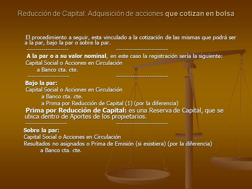 Reducción de Capital: Adquisición de acciones que cotizan en bolsa El procedimiento a seguir, esta vinculado a la cotización de las mismas que podrá s