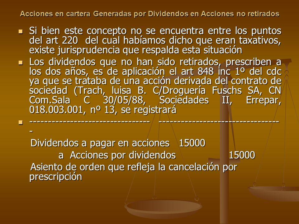 Acciones en cartera Generadas por Dividendos en Acciones no retirados Si bien este concepto no se encuentra entre los puntos del art 220 del cual habí