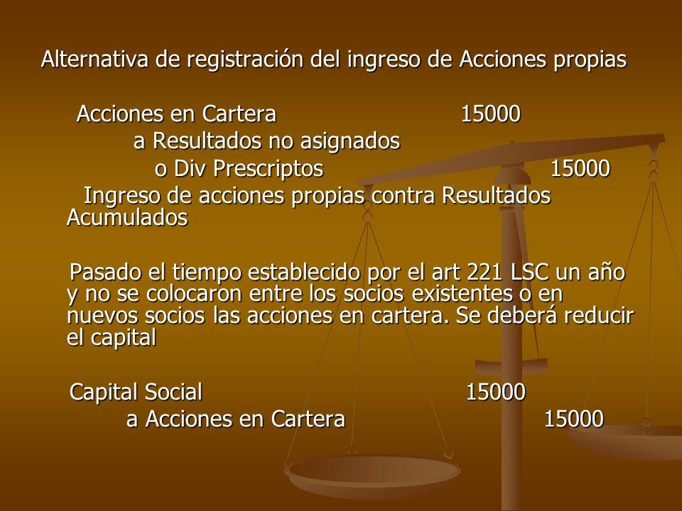 Alternativa de registración del ingreso de Acciones propias Acciones en Cartera 15000 Acciones en Cartera 15000 a Resultados no asignados a Resultados