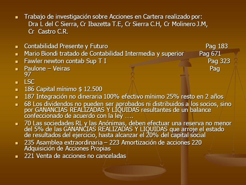 Trabajo de investigación sobre Acciones en Cartera realizado por: Trabajo de investigación sobre Acciones en Cartera realizado por: Dra L del C Sierra