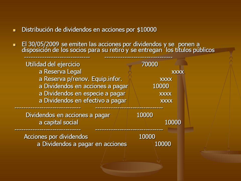 Distribución de dividendos en acciones por $10000 Distribución de dividendos en acciones por $10000 El 30/05/2009 se emiten las acciones por dividendo