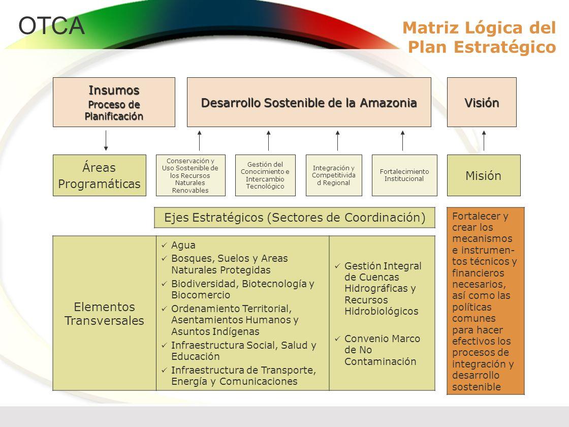 OTCA Matriz Lógica del Plan Estratégico Misión Fortalecimiento Institucional Integración y Competitivida d Regional Gestión del Conocimiento e Interca