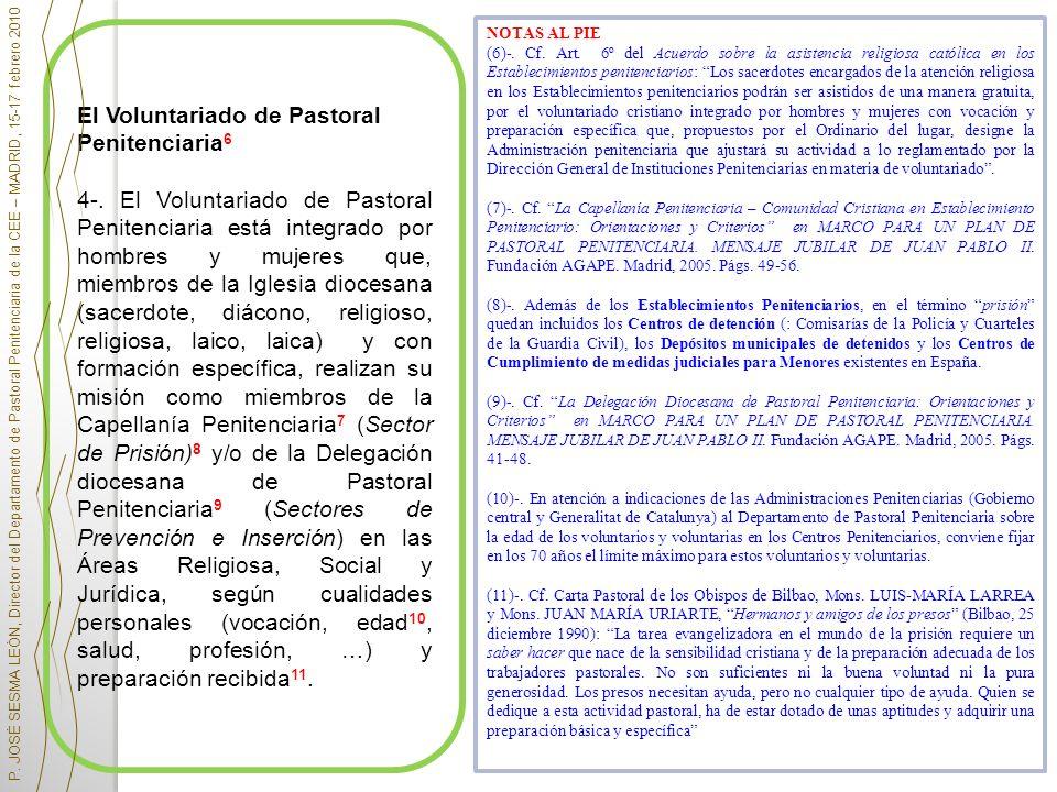 El Voluntariado de Pastoral Penitenciaria 6 4-. El Voluntariado de Pastoral Penitenciaria está integrado por hombres y mujeres que, miembros de la Igl