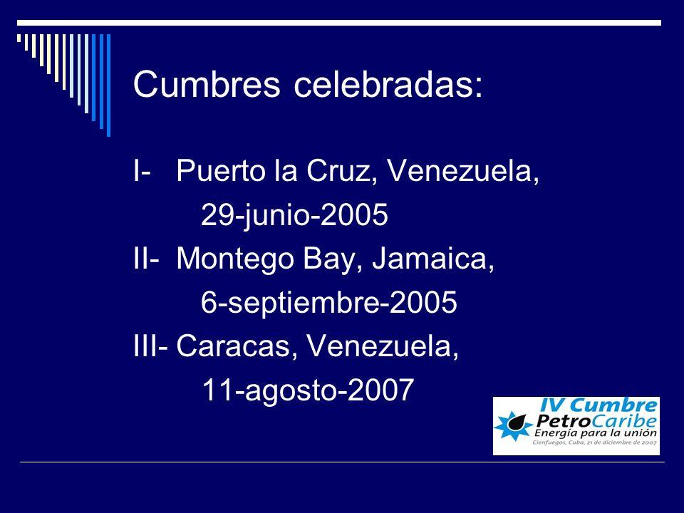 Cumbres celebradas: I- Puerto la Cruz, Venezuela, 29-junio-2005 II- Montego Bay, Jamaica, 6-septiembre-2005 III- Caracas, Venezuela, 11-agosto-2007