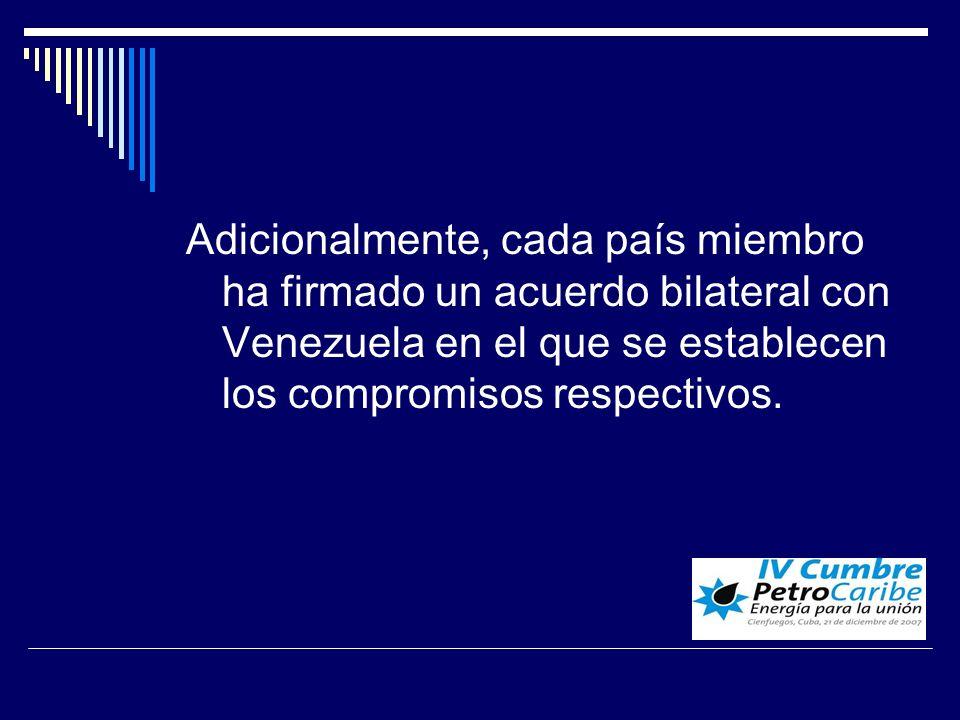 Adicionalmente, cada país miembro ha firmado un acuerdo bilateral con Venezuela en el que se establecen los compromisos respectivos.
