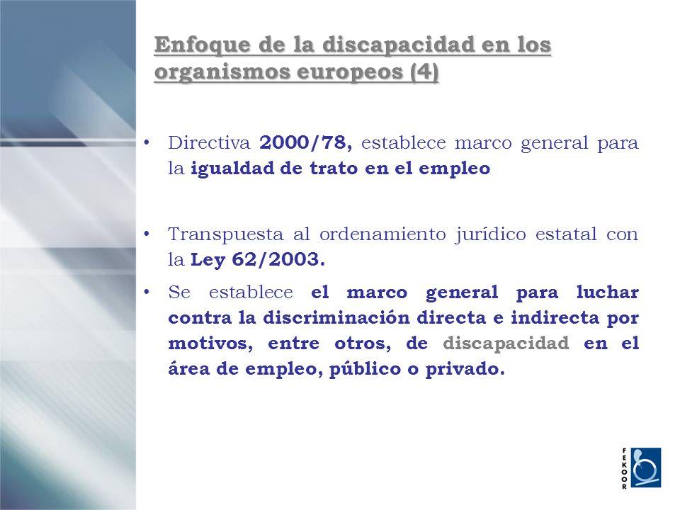 Enfoque de la discapacidad en los organismos europeos (4) Directiva 2000/78, establece marco general para la igualdad de trato en el empleo Transpuest