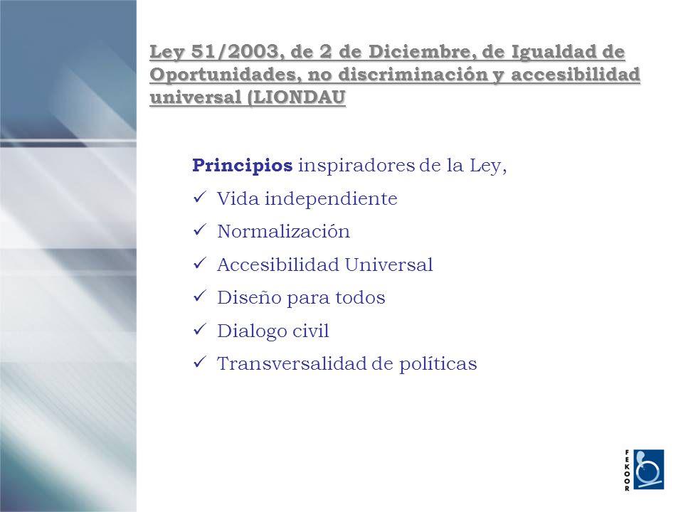 Ley 51/2003, de 2 de Diciembre, de Igualdad de Oportunidades, no discriminación y accesibilidad universal (LIONDAU Principios inspiradores de la Ley,