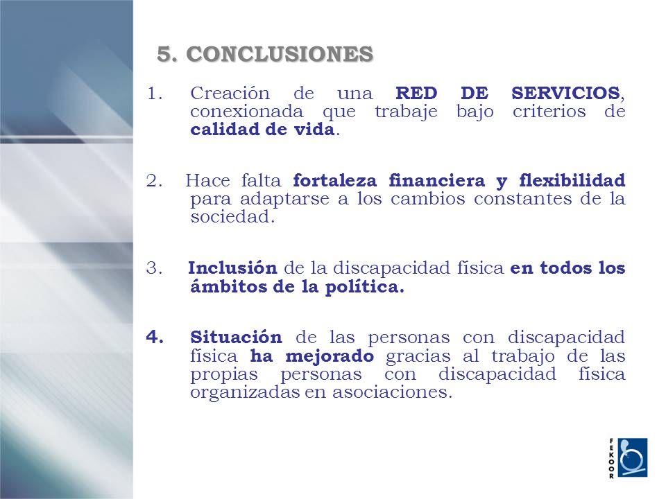 5. CONCLUSIONES 1.Creación de una RED DE SERVICIOS, conexionada que trabaje bajo criterios de calidad de vida. 2. Hace falta fortaleza financiera y fl
