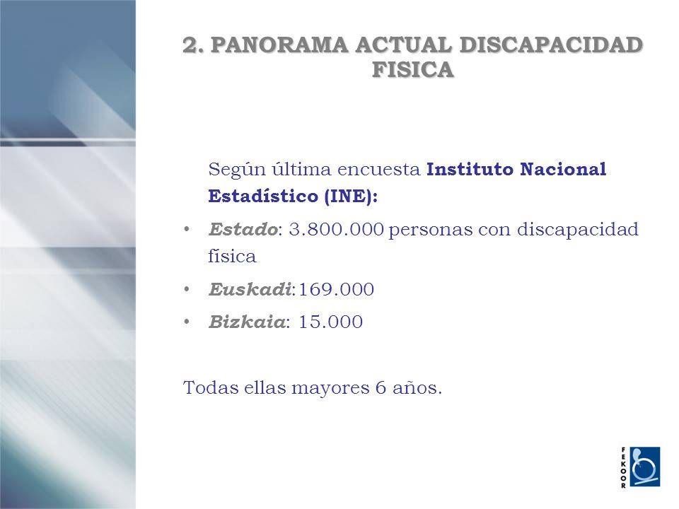 2. PANORAMA ACTUAL DISCAPACIDAD FISICA Según última encuesta Instituto Nacional Estadístico (INE): Estado : 3.800.000 personas con discapacidad física
