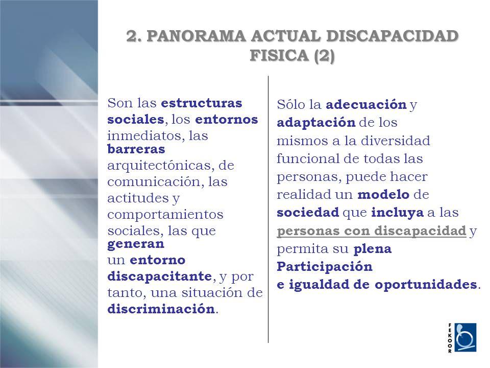 2. PANORAMA ACTUAL DISCAPACIDAD FISICA (2) Son las estructuras sociales, los entornos inmediatos, las barreras arquitectónicas, de comunicación, las a