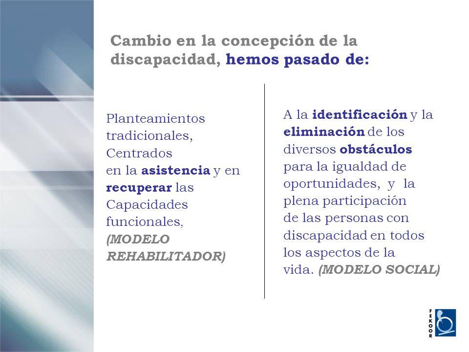 Cambio en la concepción de la discapacidad, hemos pasado de: A la identificación y la eliminación de los diversos obstáculos para la igualdad de oport