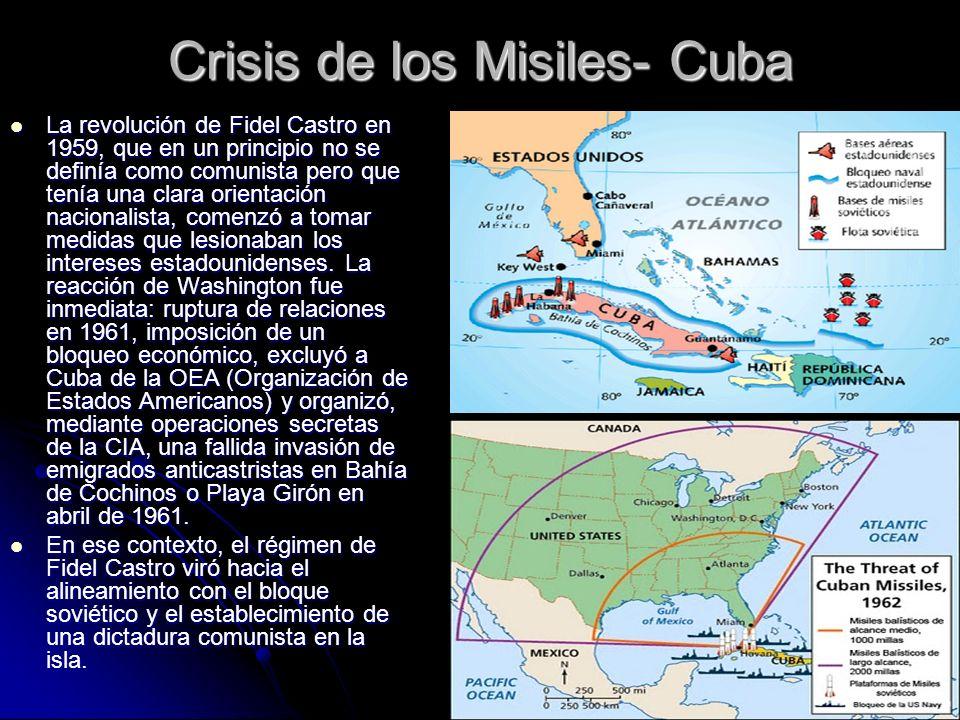 Crisis de los Misiles- Cuba La revolución de Fidel Castro en 1959, que en un principio no se definía como comunista pero que tenía una clara orientaci