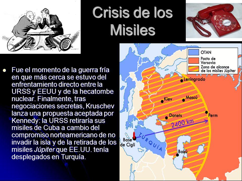 Crisis de los Misiles Fue el momento de la guerra fría en que más cerca se estuvo del enfrentamiento directo entre la URSS y EEUU y de la hecatombe nu