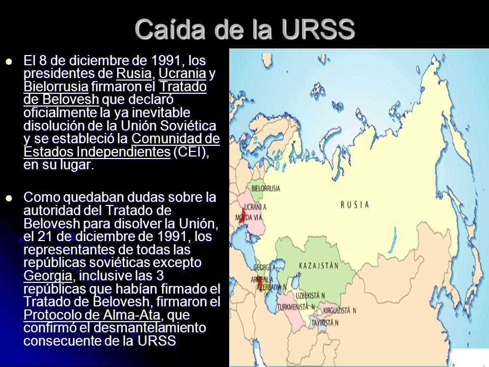 Caída de la URSS El 8 de diciembre de 1991, los presidentes de Rusia, Ucrania y Bielorrusia firmaron el Tratado de Belovesh que declaró oficialmente l