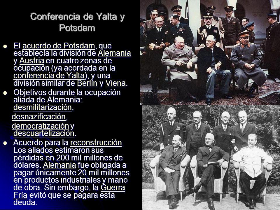 Conferencia de Yalta y Potsdam El acuerdo de Potsdam, que establecía la división de Alemania y Austria en cuatro zonas de ocupación (ya acordada en la