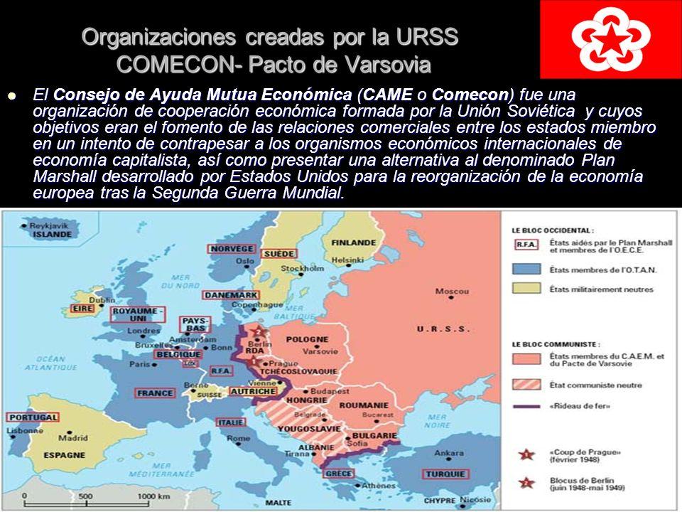 Organizaciones creadas por la URSS COMECON- Pacto de Varsovia El Consejo de Ayuda Mutua Económica (CAME o Comecon) fue una organización de cooperación