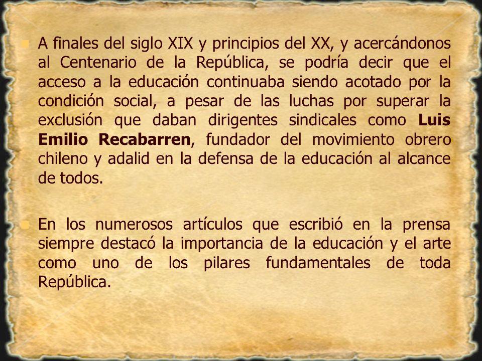 A finales del siglo XIX y principios del XX, y acercándonos al Centenario de la República, se podría decir que el acceso a la educación continuaba sie