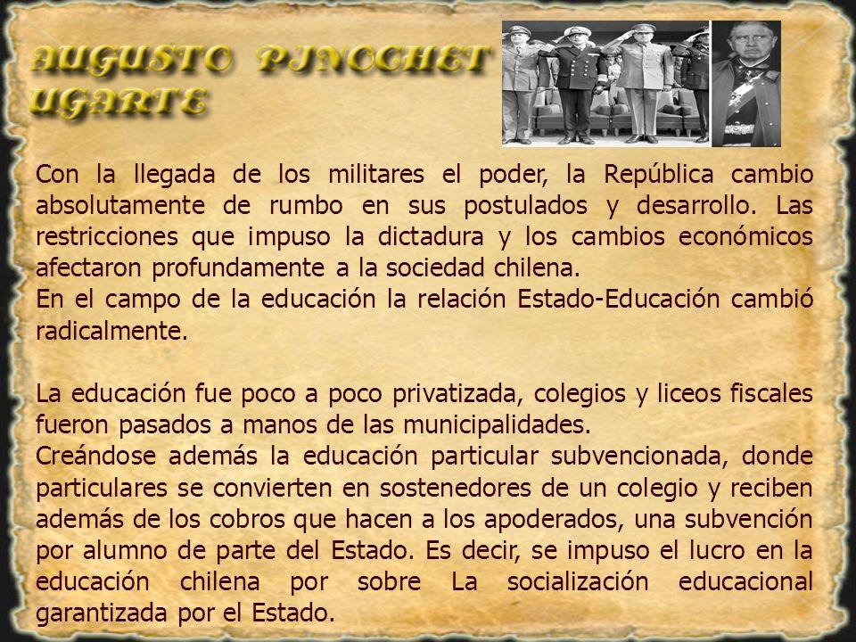 En cuanto a las universidades, las sedes regionales de las principales universidades, como en el caso de la Universidad de Chile, fueron cerradas y pasaron a formar universidades regionales.
